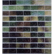 Самоклеюча декоративна 3D панель під цеглу зелений мікс 700x770x5мм