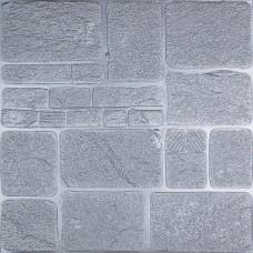 Самоклеюча декоративна 3D панель сірий камінь 700x700x8мм
