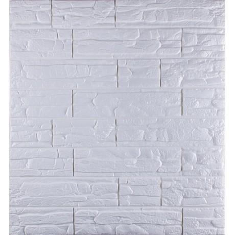 Самоклеющаяся декоративная 3D панель под рваный кирпич белый