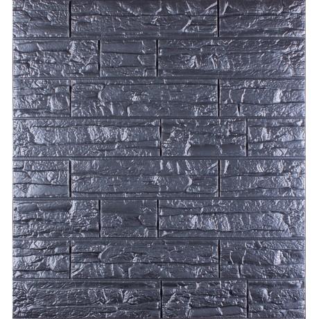 Самоклеющаяся декоративная 3D панель под рваный кирпич серый