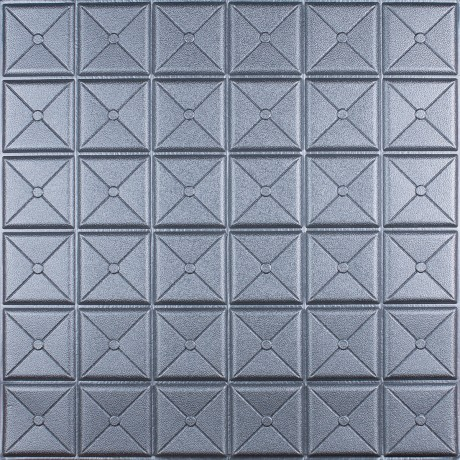 Самоклеющаяся 3D панель квадрат серебро 700x700x8мм