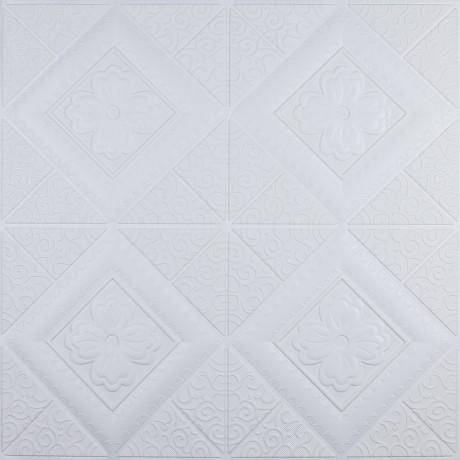 Самоклеющаяся 3D панель белая вышиванка 700x700x5мм