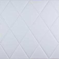 Самоклеющаяся 3D панель белая ромбы 700x700x7мм