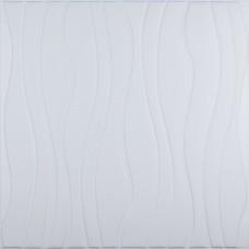 Самоклеющаяся 3D панель белая волны 700x700x7мм