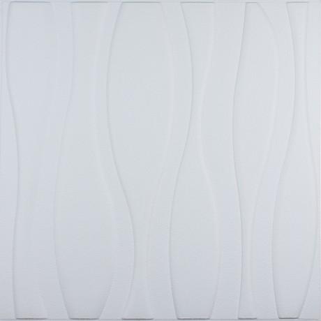 Самоклеюча декоративна 3D панель біла великі хвилі 700x700x7мм