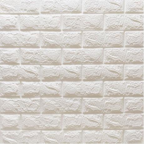 Самоклеюча декоративна 3D панель під білу матову цеглу 700x770x7мм