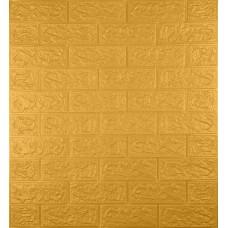 Самоклеющаяся декоративная 3D панель под кирпич золото 700x770x5мм