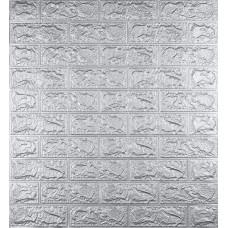 Самоклеющаяся декоративная 3D панель под кирпич серебро 700x770x5мм
