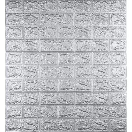 Самоклеющаяся декоративная 3D панель под кирпич серебро 5 мм