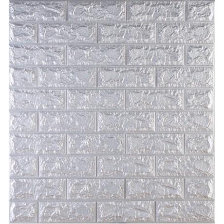 Самоклеющаяся декоративная 3D панель под кирпич серебро