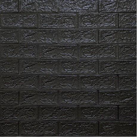 Самоклеющаяся декоративная 3D панель под черный кирпич 5 мм