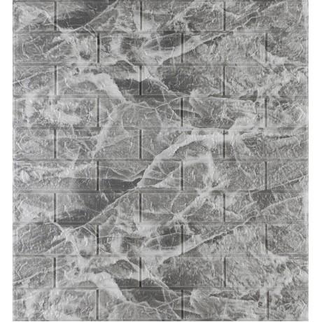 Самоклеющаяся декоративная 3D панель под кирпич черный мрамор