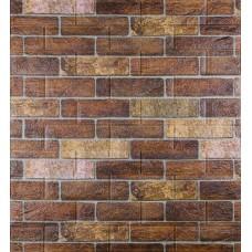 Самоклеющаяся декоративная 3D панель под коричневый екатеринославский кирпич 700x770x5мм